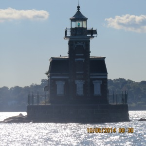 The Throg's Neck Lighthouse stands at the entrance to the East River